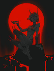 1girl 2019 absurdres arm_support backlighting breasts cup dated fate/grand_order fate_(series) full_body glowing glowing_eyes highres holding horns legs_up limited_palette moon open_mouth red_eyes red_moon red_theme revealing_clothes rock sakazuki short_hair shuten_douji_(fate) signature sitting sitting_on_rock small_breasts solkorra solo tagme  rating:Safe score:15 user:fenrir_q