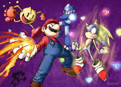 2boys 3others angry arm_cannon blue_eyes capcom charging_(attack) cherry clash facial_hair fire fireball food fruit gem gloves hat helmet mario mario_(series) mega_man_(character) mega_man_(series) mr._game_&_watch multiple_boys multiple_others mustache namco nintendo open_mouth pac-man red_eyes robot sega serious sonic_(series) sonic_the_hedgehog super_mario_bros. super_smash_bros. weapon  rating:Safe score:0 user:Mr._Jive