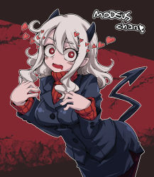 1girl black_suit breasts casual_suit character_name demon_tail heart helltaker horns large_breasts looking_at_viewer makita_yoshiharu modeus_(helltaker) pantyhose red_eyes red_sweater ribbed_shirt shirt skirt solo sweater tail thighhighs white_hair