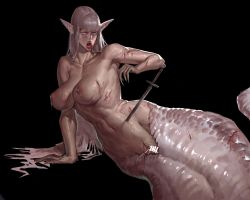 1girl blood breasts guro lagon lamia milk monster_girl nude pointy_ears red_eyes slice snake_girl snake_tail stab sword tail weapon white_hair wounds
