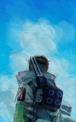 1boy apex_legends backpack bag black_hair cloud crypto_(apex_legends) from_behind green_sleeves highres husagin jacket looking_up male_focus scenery sky solo upper_body white_jacket