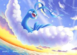 altaria cloud commentary_request creatures_(company) day enishi_(menkura-rin10) flying game_freak gen_3_pokemon highres looking_to_the_side nintendo no_humans open_mouth outdoors pokemon pokemon_(creature) sky solo sparkle tongue