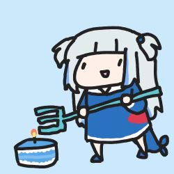 1girl animated birthday birthday_cake blue_hoodie cake chibi eating fish_tail food gawr_gura hololive hololive_english hood hoodie long_hair looping_animation polearm shark_girl shark_tail silver_hair solo tail trident two_side_up video virtual_youtuber walfie weapon