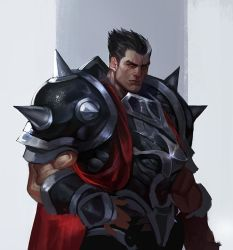 1boy, armor, black hair, cape, closed mouth, commentary request, darius (league of legends), gloves, grey background, grey hair, holding, league of legends, looking at viewer, male focus, multicolored hair, pauldrons, red cape, scar, shoulder armor, shoulder pads, sia kim, simple background, solo, standing, two-tone hair, white background