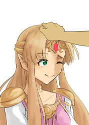 1girl, armor, arms, artist request, bangs, blonde hair, blue eyes, bracelet, cape, closed mouth, collarbone, diadem, dress, earrings, eyelashes, female focus, forehead jewel, gem, hand on another's head, hands, happy, head pat, jewelry, long dress, long hair, looking at another, lots of jewelry, neck, necklace, nintendo, patting, petting, pointy ears, princess zelda, print dress, ruby (gemstone), short-sleeved dress, short sleeves, shoulder armor, sidelocks, simple background, smile, the legend of zelda, the legend of zelda: a link between worlds, tiara, triforce, triforce earrings, tunic, white background, white cape, white dress, white tunic, wink