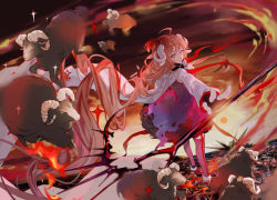 1girl, animal, arknights, brown hair, bubble skirt, burnt clothes, curly hair, eyjafjalla (arknights), fingerless gloves, fire, gloves, goat, goat horns, horns, kanose, long hair, looking at viewer, looking back, red eyes, skirt, solo, staff, very long hair