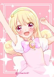 1girl, :d, arms up, back bow, blonde hair, blush, border, bow, bowtie, checkered, checkered bow, checkered neckwear, choker, curly hair, dress, hair ornament, happy, hinata yume, long hair, looking at viewer, magical girl, mewkledreamy, multicolored hairband, open mouth, outside border, pink background, pink choker, pink dress, pink eyes, puffy short sleeves, puffy sleeves, short sleeves, smile, solo, star (symbol), star choker, star hair ornament, star in eye, starry background, symbol in eye, tiramisu651, twitter username, upper body, white border, white sleeves