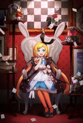 1girl, :d, absurdres, apron, armchair, bangs, black footwear, black hairband, black jacket, black ribbon, blonde hair, blue dress, blue eyes, book, book stack, card, chair, checkered, chess piece, club (shape), collared dress, commentary request, diamond (shape), dress, eyebrows visible through hair, hair ribbon, hairband, hand up, heart, highres, indoors, jacket, long hair, low twintails, on chair, open mouth, orange legwear, original, pantyhose, picture (object), picture frame, playing card, puffy short sleeves, puffy sleeves, ribbon, round teeth, shoes, short sleeves, sitting, smile, solo, spade (shape), swept bangs, table, teeth, twintails, upper teeth, very long hair, wang man, white apron