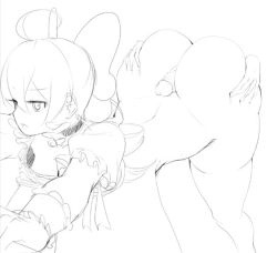 Rule 34 | 1boy, 1girl, ahoge, ass, ass grab, bangs, bow, bowtie, breasts, buttjob, character request, copyright request, disembodied limb, disembodied penis, eyebrows visible through hair, gloves, hair bow, hataraki ari, hetero, huge ass, huge breasts, leaning forward, monochrome, narrow waist, penis, rubbing, sketch, skindentation, slender waist, small breasts, source request, thick thighs, thighhighs, thighs, thin eyebrows, uncensored, wide hips