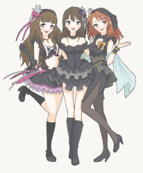 3girls, alternate hairstyle, armpits, arms, artist request, bangs, bare shoulders, black choker, black dress, black footwear, black gloves, black hair, black hairband, black headwear, black high heels, black skirt, black tank top, black wristband, blush, boots, bow, bow skirt, breasts, brown eyes, brown hair, brown legwear, choker, cleavage, cleavage cutout, clothing cutout, collarbone, crop top, cross-laced footwear, dress, female focus, fingers, fist, fluffy, friends, frilled dress, frilled skirt, frilled sleeves, frills, full body, gloves, gothic lolita, green eyes, hair bow, hair ornament, hair ribbon, hairband, hand on another's hip, hand up, hands, happy, headwear, high heels, highres, houjou karen, idol, idolmaster, idolmaster cinderella girls, jewelry, kamiya nao, lace-up boots, leg up, legs, legs together, legwear, lolita fashion, long hair, long image, looking at viewer, mary janes, medium breasts, medium skirt, midriff, miniskirt, multiple girls, namco, navel, neck, necklace, open mouth, orange bow, orange hair, orange ribbon, pantyhose, pencil skirt, pink bow, pink ribbon, pose, ribbon, shibuya rin, shoes, shoulders, sidelocks, simple background, skirt, sleeveless, sleeveless dress, smile, socks, standing, standing on one leg, star (symbol), star hair ornament, star ornament, straight hair, tall image, tank top, thighs, triad primus, white background, wristband, yellow eyes