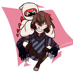 1boy, 1girl, ^ ^, akechi gorou, anger vein, arm belt, arms up, bangs, belt, black belt, black footwear, black gloves, blush, boots, brown hair, carrying, clawed gauntlets, closed eyes, detached hair, eyebrows visible through hair, eyes closed, forced smile, gauntlets, gloves, hair between eyes, heart, hood, hood up, hoodie, knee boots, knees up, legs up, long sleeves, mouth pull, persona, persona 5, persona 5 scramble: the phantom strikers, piggyback, red hair, robot, shoulder belt, simple background, sophia (p5s), striped, striped clothes, sweat, sweatdrop, teeth, themuddler07, torn clothes, torn sleeves, v arms, watermark, white background, white hoodie, wide sleeves