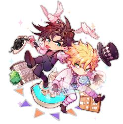 2boys, animal, animal on shoulder, aqua eyes, battle tendency, belt, bird, bird on shoulder, black pants, blonde hair, bo bo milk, boots, bow, bowtie, broken, brown footwear, brown gloves, brown hair, brown sweater, bubble, building, caesar anthonio zeppeli, checkered, checkered headwear, chibi, chinese commentary, closed mouth, commentary request, cup, dove, drink, drinking glass, eyebrows behind hair, facial mark, feathers, fingerless gloves, food, fountain, frown, gloves, green eyes, hair feathers, hat, holding, holding cup, holding drink, jacket, jojo no kimyou na bouken, joseph joestar (young), knee boots, leg up, long sleeves, looking at another, male focus, multiple boys, outline, outstretched arms, pants, pasta, pink neckwear, shirt, shoe soles, short hair, sideways glance, sleeve cuffs, spaghetti, sparkle, spread arms, striped, striped pants, sweater, sweater vest, tongue, tongue out, top hat, waistcoat, white jacket, white shirt, wine glass