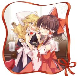 2girls, :q, absurdres, apron, ascot, bandanna, bangs, beaker, black dress, blonde hair, blush, bow, brown hair, chocolate, closed mouth, cooking, detached sleeves, dress, eyebrows visible through hair, fang, fork, frilled apron, frills, frown, hair bow, hair tubes, hakurei reimu, heart, highres, holding, holding fork, kirisame marisa, licking, long hair, looking at another, looking back, medium dress, medium skirt, multiple girls, nontraditional miko, open mouth, ponytail, poprication, red bow, red shirt, red skirt, ribbon-trimmed sleeves, ribbon trim, shirt, sidelocks, skin fang, skirt, skirt set, smile, standing, sweatdrop, symbol commentary, test tube, tongue, tongue out, touhou, white apron, white sleeves, yellow eyes, yellow neckwear