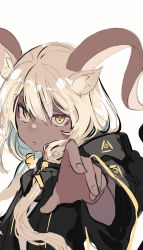 1girl, animal ears, arknights, beeswax (arknights), black jacket, brown hair, dark-skinned female, dark skin, goat ears, goat girl, goat horns, highres, horns, jacket, long hair, looking at viewer, one-hour drawing challenge, reaching out, simple background, sketch, solo, tetuw, upper body, white background, yellow eyes