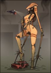 1girl, beam rifle, black hair, blue eyes, breasts, commentary, covered erect nipples, cyborg, energy gun, english commentary, extra legs, from side, full body, giant, giantess, glowing, glowing eyes, gun, half-life, half-life 2, high heels, highres, holding, holding gun, holding weapon, joints, justrube, long hair, long legs, medium breasts, metal skin, personification, robot joints, solo focus, standing, stiletto heels, strider, weapon