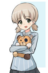 1girl, aki (girls und panzer), bangs, blue shirt, boko (girls und panzer), commentary, cowboy shot, dress shirt, eyebrows visible through hair, girls und panzer, green eyes, grey skirt, hair tie, highres, holding, holding stuffed toy, keizoku school uniform, light brown hair, long sleeves, looking at viewer, low twintails, nasunael, open mouth, pleated skirt, school uniform, shirt, short hair, short twintails, skirt, smile, solo, standing, striped, striped shirt, stuffed animal, stuffed toy, teddy bear, twintails, vertical-striped shirt, vertical stripes, white shirt, wing collar
