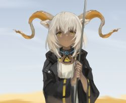 1girl, animal ears, arknights, bangs, beeswax (arknights), black jacket, dark skin, dark skinned female, day, dress, goat ears, goat horns, gold horns, hara shoutarou, highres, holding, holding staff, horns, infection monitor (arknights), jacket, medium hair, outdoors, parted lips, solo, staff, upper body, white dress, white hair, yellow eyes