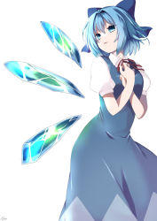 1girl, absurdres, blue bow, blue dress, blue eyes, blue hair, bow, breasts, cirno, collared shirt, dress, eyebrows behind hair, feet out of frame, from below, hair between eyes, hair bow, hair intakes, hands on own chest, highres, ice, ice wings, leaning forward, looking afar, looking to the side, maccha (matcha69), parted lips, pinafore dress, puffy short sleeves, puffy sleeves, red neckwear, red ribbon, ribbon, shirt, short hair, short sleeves, simple background, small breasts, smile, solo, standing, touhou, white background, white shirt, wings