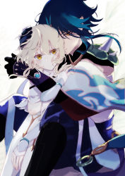 1boy, 1girl, absurdres, aqua hair, arm guards, armor, bangs, black gloves, black hair, blonde hair, blurry, blurry foreground, commentary request, couple, cowboy shot, detached sleeves, dress, eyeshadow, genshin impact, gloves, hand on another's chest, hand on another's head, hetero, highres, hug, hug from behind, looking at viewer, lumine (genshin impact), makeup, multicolored hair, n.s.egg, parted bangs, red eyeshadow, short hair, short hair with long locks, shoulder armor, shoulder spikes, sidelocks, simple background, spikes, two-tone hair, vision (genshin impact), white background, white dress, white gloves, xiao (genshin impact), yellow eyes