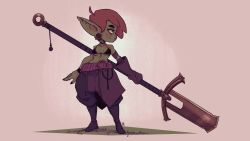 1girl, abs, absurdres, ahoge, baggy pants, bandage, bandaged arm, bandages, bikini, bikini top, black bikini, black choker, black nails, boots, breasts, choker, colored skin, commentary, dungeons and dragons, english commentary, female goblin, fingernails, full body, gloves, goblin, green skin, highres, holding, holding polearm, holding weapon, huge weapon, knee boots, lipstick, long pointy ears, makeup, nail polish, pants, pelvic curtain, plug (piercing), pointy ears, polearm, red hair, red lips, sharp fingernails, short hair, single glove, small breasts, solo, standing, swimsuit, thick eyebrows, underboob, uri venom, weapon, wide hips