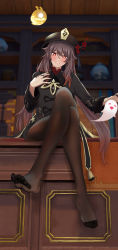 1girl, absurdres, black legwear, black nails, blush, brown hair, chinese clothes, feet, flower, full body, genshin impact, ghost, hat, highres, hu tao, icons (1452697582), jewelry, legs, legs crossed, long hair, long sleeves, looking at viewer, nail polish, pantyhose, red eyes, ring, sitting, smile, solo, symbol-shaped pupils, table, toes, twintails