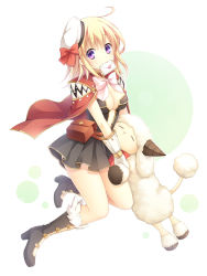 1girl, akira (139931), amistr (ragnarok online), bangs, belt, blonde hair, boots, bow, breasts, brown belt, brown dress, brown footwear, cape, commentary, creator (ragnarok online), dress, envelope, eyebrows visible through hair, full body, fur-trimmed footwear, gloves, green background, hat, hat bow, large breasts, letter, living clothes, looking at viewer, medium hair, mouth hold, poring, pouch, purple eyes, ragnarok online, red bow, red cape, sailor hat, sheep, short dress, simple background, strapless, strapless dress, teeth, two-tone background, white background, white gloves, white headwear