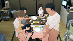 Rule 34   1girl, age difference, all fours, areolae, bangs, barefoot, black eyes, black hair, blush, bottomless, bowl, breasts, breasts outside, brother and sister, censored, chopsticks, clothed sex, cup, doggystyle, eating, electric fan, embarrassed, family, father and daughter, father and son, feet, fellatio, food, from above, hair between eyes, hands on another's head, highres, holding, holding chopsticks, incest, indoors, kemuri haku, legs, medium breasts, medium hair, mosaic censoring, nipples, open mouth, oral, original, penis, sex, sex from behind, shirt lift, siblings, sitting, spitroast, standing, table, tank top, tatami, thighs, toaru daikazoku no okazu jijou: mamagawari onee-chan funtouki, toes, trash can, vaginal