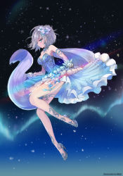 1girl, absurdres, anastasia (idolmaster), artist name, blue dress, blue eyes, blue footwear, breasts, cleavage, closed mouth, dress, floating hair, flower, from side, full body, gloves, gradient sky, hair flower, hair ornament, high heels, highres, hmax, idolmaster, idolmaster cinderella girls, looking at viewer, looking to the side, medium breasts, medium hair, profile, pumps, shiny, shiny hair, short dress, silver hair, sky, sleeveless, sleeveless dress, solo, sparkle, star (sky), starry sky, strapless, strapless dress, white flower, white gloves