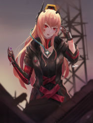 1girl, absurdres, artist name, black gloves, black jacket, blood, blood on face, bodysuit, dinergate (girls frontline), eyeball, eyebrows visible through hair, girls frontline, gloves, highres, holding, jacket, lips, long hair, looking at viewer, m4 sopmod ii (girls frontline), mechanical arms, open clothes, open jacket, open mouth, pink hair, red eyes, simple background, single glove, single mechanical arm, solo, standing, un lim
