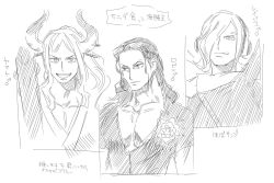 3boys, bodysuit, character name, closed mouth, club, collarbone, collared shirt, curled horns, earrings, eyewear on head, flower, genderswap, genderswap (ftm), greyscale, hair over one eye, hair slicked back, headphones, high collar, high ponytail, hoop earrings, horns, jewelry, kanabou, licking lips, long hair, looking at viewer, looking to the side, male focus, mars symbol, medium hair, monochrome, multiple boys, nico robin, one piece, oni, open mouth, pectorals, pemu op, shirt, sketch, smile, sunglasses, tongue, tongue out, upper body, v-shaped eyebrows, vinsmoke reiju, weapon, yamato (one piece)