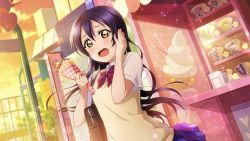 1girl, artist name, artist request, birthday, blue hair, blush, bow, bowtie, breasts, cloud, collared shirt, day, female focus, food, hair between eyes, happy birthday, holding, holding food, holding ice cream cone, ice cream cone, long hair, looking at viewer, love live!, love live! school idol festival, love live! school idol festival all stars, love live! school idol project, nail, nail polish, otonokizaka school uniform, outdoors, parted lips, pink nail polish, pink nails, red neckwear, school uniform, shirt, sky, small breasts, smile, solo, sonoda umi, sunset, sweater vest, upper body, vest, white shirt, wing collar, yellow eyes, yellow vest