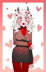 1girl, arm under breasts, black horns, black jacket, black miniskirt, black skirt, black suit, blush, breasts, business suit, buttoniris, curly hair, demon girl, demon horns, formal, heart, heart-shaped pupils, helltaker, horns, jacket, large breasts, long sleeves, looking at viewer, medium hair, miniskirt, modeus (helltaker), open mouth, pantyhose, red eyes, red legwear, red sweater, ribbed shirt, saliva, shirt, short hair, skirt, sleeves past wrists, solo, standing, suit, sweater, symbol-shaped pupils, tail, thighhighs, turtleneck, white background, white hair