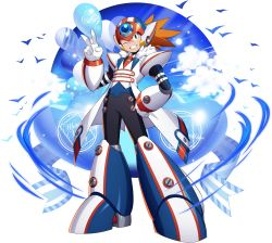 1boy, ;d, alternate costume, android, axl, balloon, cloud, cloudy sky, forehead jewel, formal, full body, green eyes, grin, hand on hip, helmet, highres, looking at viewer, male focus, mizuno keisuke, necktie, official art, one eye closed, open mouth, orange hair, ribbon, rockman, rockman x, rockman x7, rockman x dive, scar, screw, sky, smile, solo, spiked hair, suit, transparent background, v, white day, white suit