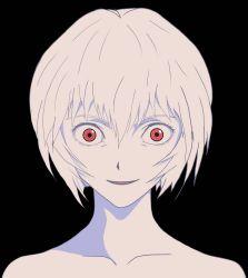 Rule 34 | 1girl, ayanami rei, bangs, crazy eyes, creepy smile, end of evangelion, highres, lilith (ayanami rei), looking at viewer, neon genesis evangelion, nude, red eyes, solo, upper body