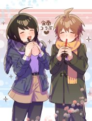 1boy, 1girl, :d, absurdres, ahoge, alternate costume, bangs, black legwear, blush, brother and sister, brown hair, brown shorts, bubble tea, commentary request, cowboy shot, danganronpa: trigger happy havoc, danganronpa (series), drinking, drinking straw, eyes closed, facing viewer, green jacket, heart, highres, holding, jacket, light brown hair, long sleeves, naegi komaru, naegi makoto, open clothes, open jacket, open mouth, orange scarf, pants, pantyhose, plaid, plaid scarf, scarf, shirt, short hair, shorts, siblings, smile, sparkle, sparkle background, sumeshiruko, translation request, winter clothes