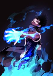 1boy, absurdres, artist name, belt, black coat, black hair, blue eyes, blue fire, boku no hero academia, burn scar, coat, commentary request, dabi (boku no hero academia), dark background, earrings, fire, head tilt, highres, j nobu4, jewelry, looking at viewer, male focus, open clothes, open coat, pants, patchwork skin, scar, shirt, signature, smile, solo, standing, white shirt