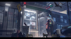 1boy, absurdres, barred window, bench, bird, black cat, blonde hair, building, car, cat, crow, crt, english text, fire hydrant, fullmetal98, ground vehicle, highres, holding, holding umbrella, kenny mccormick, motor vehicle, neon lights, night, outdoors, parka, power lines, road sign, scenery, sign, solo, south park, television, trash bag, trash can, umbrella, utility pole