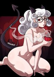Rule 34   1girl, arm support, artist name, bangs, between legs, black-framed eyewear, black horns, breasts, coffee cup, collarbone, completely nude, cup, demon girl, demon horns, demon tail, disposable cup, full body, glasses, hand between legs, hand up, helltaker, highres, holding, holding cup, horns, kinkymation, long hair, looking at viewer, medium breasts, nude, pandemonica (helltaker), parted lips, red eyes, round eyewear, seiza, sitting, solo, tail, white hair