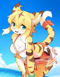 1girl, absurdres, ahoge, animal ears, bent over, bikini, bikini skirt, blue eyes, blue sky, blush, breasts, cleavage, day, devil-vox, female focus, furry, highres, mia (world flipper), multicolored hair, ocean, open mouth, outdoors, pouch, ribbon, sidelocks, skirt, sky, solo, swimsuit, tail, tail ornament, tail ribbon, tiger ears, tiger tail, white hair, world flipper, yellow fur