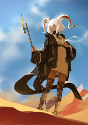 1girl, animal ears, arknights, beeswax (arknights), black coat, black footwear, blue sky, blush, breasts, coat, commentary, dark skin, dark skinned female, day, desert, dress, full body, goat ears, goat horns, hair between eyes, highres, holding, holding staff, horns, infection monitor (arknights), leg wrap, long hair, mannouyakunta, open clothes, open coat, open mouth, orange eyes, outdoors, shade, sky, small breasts, solo, staff, standing, sunlight, twintails, white dress, white hair, wide sleeves, wind