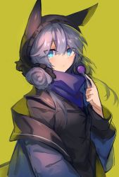 1girl, arknights, bangs, blue eyes, blue hair, blush, candy, closed mouth, commentary request, eyebrows visible through hair, food, glaucus (arknights), hair between eyes, holding, holding food, hood, jacket, lollipop, long sleeves, looking at viewer, sasa onigiri, simple background, solo, upper body, yellow background