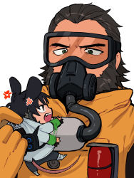 2boys, anger vein, animal ears, annoyed, apex legends, beard, black eyes, black hair, caustic (apex legends), crypto (apex legends), facial hair, fang, gas mask, goggles, green sleeves, grey jacket, hair slicked back, highres, holding person, husagin, jacket, kemonomimi mode, male focus, miniboy, mouse boy, mouse ears, mouse tail, multiple boys, open hand, open mouth, tail, upper body, v-shaped eyebrows, waving arms, white background