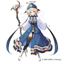 1girl, black legwear, black panties, blonde hair, blue dress, blue eyes, blue headwear, boots, breasts, brown-framed eyewear, chains, character request, commentary request, crescent, cross-laced footwear, dennou tenshi jibril, dress, full body, glasses, groin, hat, holding, holding staff, kine-c, lace-up boots, long sleeves, looking at viewer, medium breasts, official art, panties, parted lips, round eyewear, shirt, short hair, simple background, skindentation, sleeveless, sleeveless dress, solo, staff, thighhighs, thighhighs under boots, underwear, watermark, white background, white footwear, white shirt, wide sleeves