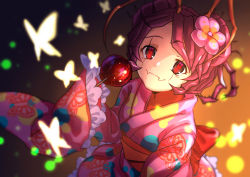 1girl, animal print, antennae, back bow, black eyes, bow, bug, butterfly, butterfly print, candy apple, closed mouth, collarbone, entoma vasilissa zeta, fangs, flower, food, hair flower, hair ornament, highres, holding, holding food, insect, japanese clothes, kimono, long sleeves, obi, overlord (maruyama), pink flower, pink kimono, poppu, print kimono, purple hair, red bow, sash, shiny, shiny hair, short hair, sleeves past fingers, sleeves past wrists, slit pupils, solo, yukata