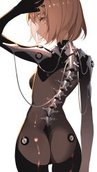 1girl, ass, bodysuit, brown eyes, brown hair, cable, commentary request, hand on own head, highres, looking at viewer, looking back, mechanical backbone, original, science fiction, shiny, shiny clothes, short hair, skin tight, solo, tsuki-shigure, white background