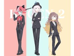 absurdres, anya melfissa, bangs, blonde hair, bow, bowtie, brown hair, double bun, formal, hair bow, hat, heterochromia, highres, hololive, hololive indonesia, kureiji ollie, long hair, looking at viewer, multicolored hair, multiple girls, namii (namialus m), patchwork skin, pavolia reine, purple eyes, red eyes, red hair, side ponytail, silver hair, stitched face, suit, virtual youtuber, weapon, yellow eyes, zombie