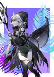 1girl, ahoge, arknights, black footwear, black legwear, black sleeves, brown gloves, crocodilian tail, detached sleeves, ere chip, feet out of frame, gloves, goggles, goggles around neck, green shirt, grey hair, highres, holding, holding staff, hood, hood up, infection monitor (arknights), looking at viewer, multicolored hair, pelvic curtain, plant, shirt, short hair, solo, staff, standing, streaked hair, thighhighs, tomimi (arknights), torn clothes, torn legwear, twitter username, yellow eyes