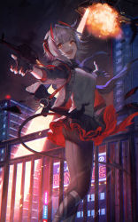 1girl, aircraft, arknights, building, demon girl, demon horns, demon tail, explosion, fingerless gloves, gloves, grey skirt, helicopter, highres, horns, jacket, ji mag (artist), looking at viewer, nail polish, night, red eyes, red nails, shirt, short hair, skirt, solo, tail, thighhighs, w (arknights)