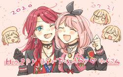 5girls, ^ ^, afterglow (bang dream!), aoba moca, arm up, bang dream!, blush, cheek-to-cheek, chibi, chibi inset, choker, closed eyes, eyes closed, fang, green eyes, happy birthday, hazawa tsugumi, highres, jewelry, long hair, low twintails, mitake ran, multiple girls, necklace, one eye closed, pendant, pink hair, red hair, smile, twintails, udagawa tomoe, uehara himari, upper body, zawameki