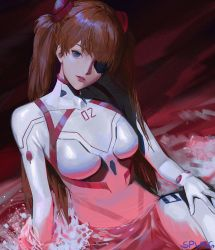 1girl, artist request, blue eyes, breasts, brown hair, evangelion: 3.0+1.0 thrice upon a time, eyepatch, highres, long hair, looking at viewer, neon genesis evangelion, plugsuit, rebuild of evangelion, sitting, solo, soryu asuka langley, twintails, water